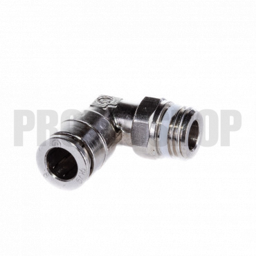 """90° push in fitting LP male G 1/4"""" - 8mm hose Oxygen"""