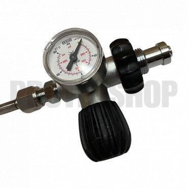 DIN connector with bleed and pressure gauge 40mm